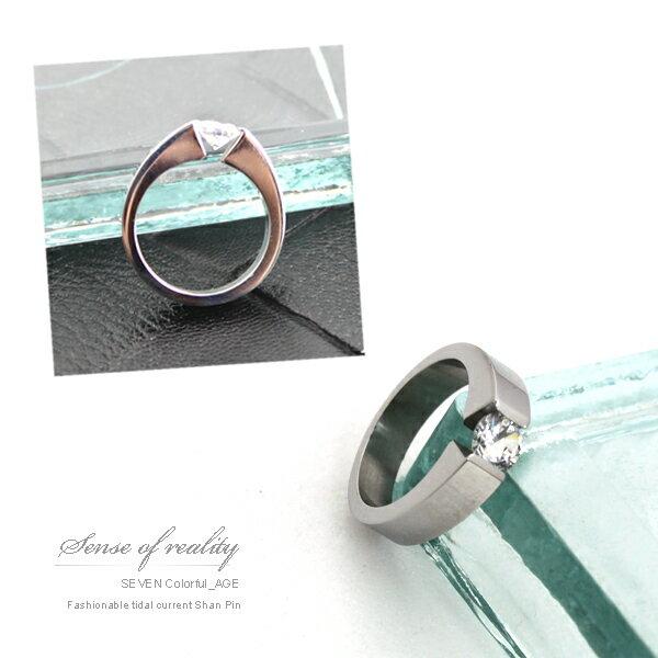 柒彩年代【NC65】精品專櫃方晶鋯石戒指~完美切割面.鋼製不氧化
