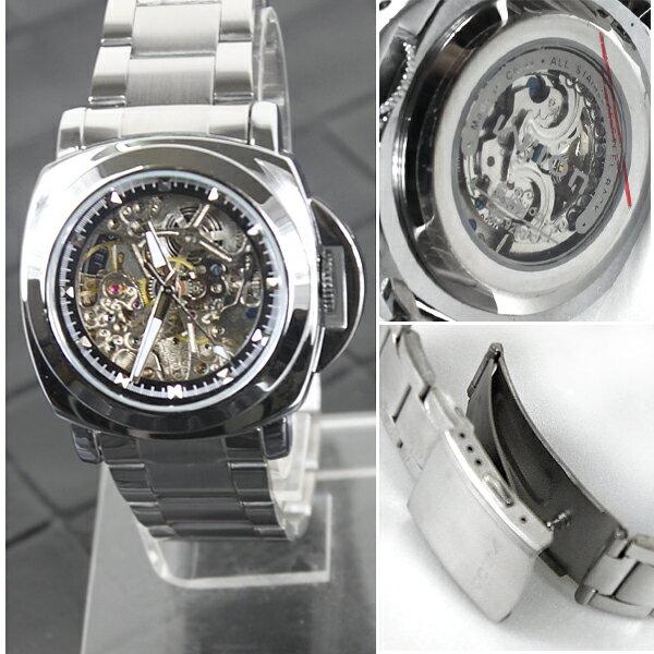 柒彩年代-免運費【NE132】不繡鋼錶帶超厚實自動上鍊機械錶~高磅數鏤空.雜誌時尚對錶 0