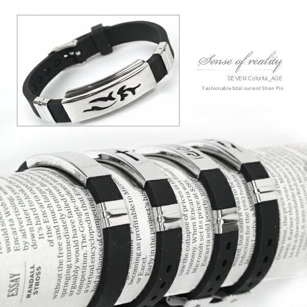 柒彩年代【NA98】西德316L鋼錶帶式手環.無限制手圍都可配戴~日本街頭潮流時尚情侶.單條