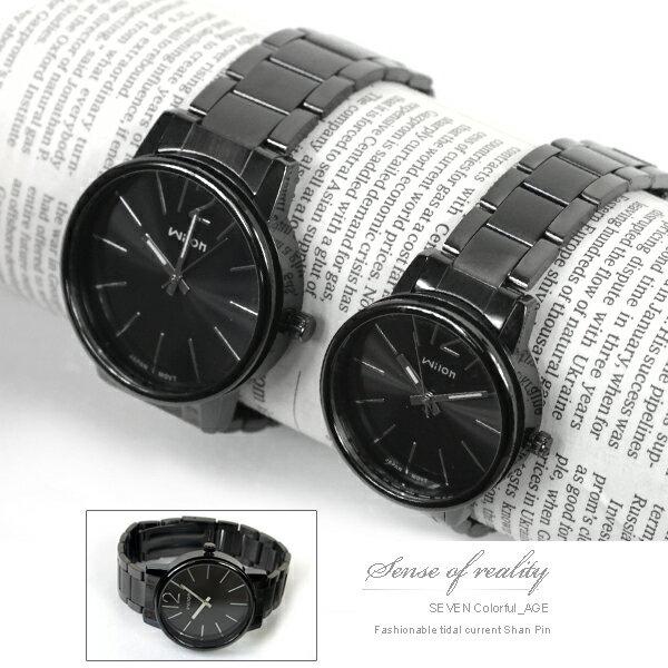 柒彩年代【NE153】厚實獨特側邊鏤空設計手錶~神秘低調全黑對錶.腕錶.~單支價格 0