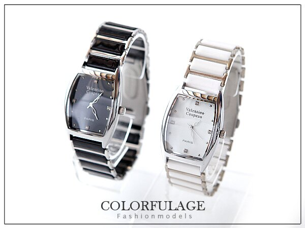 柒彩年代【NE214】范倫鐵諾Valentino原廠正品手錶~酒桶型陶瓷錶帶~單支價格