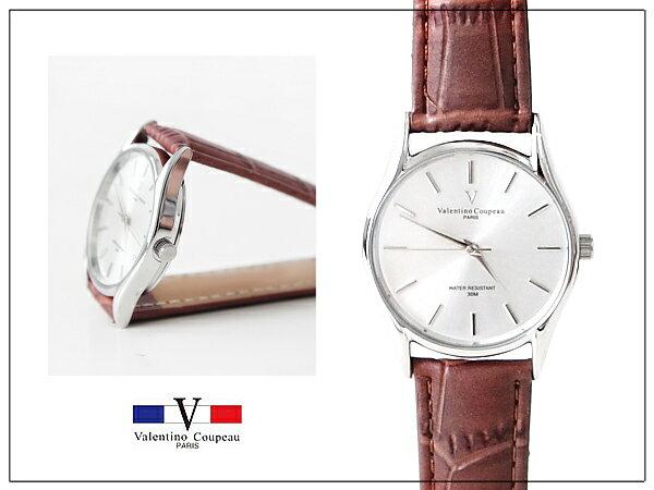 柒彩年代【NE247】超薄錶殼范倫鐵諾Valentino錶款~中性深咖真皮錶帶.超簡約
