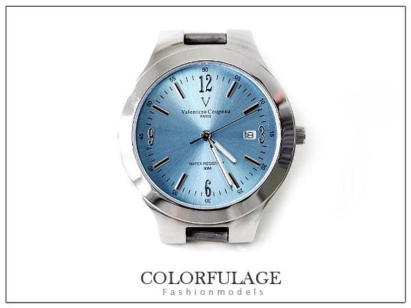柒彩年代【NE234】藍寶石水晶鏡片~范倫鐵諾Valentino實心不銹鋼錶帶+錶殼