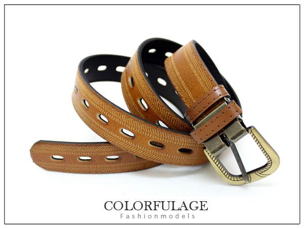 柒彩年代~NK57~韓系宅版淺咖 皮帶 簡約復古銅扣~型男必搭單品