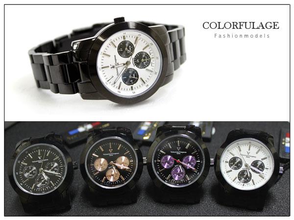 柒彩年代【NE280】范倫鐵諾不鏽鋼錶殼 錶帶~真三眼手錶~原廠公司貨 單支價格 0