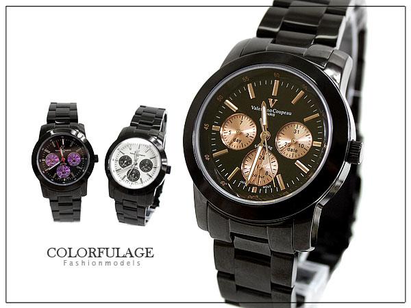 柒彩年代【NE280】范倫鐵諾真三眼設計手錶~時尚藍寶石鏡面~單支價格 0