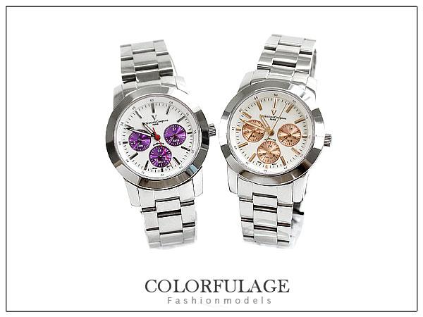 柒彩年代【NE281】范倫鐵諾不鏽鋼錶殼 錶帶~真三眼手錶~原廠公司貨 單支價格
