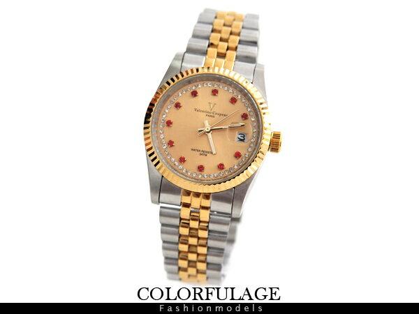 柒彩年代【NE371】范倫鐵諾Valentino金銀色澤交錯不鏽鋼紅鑽錶手錶