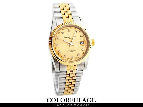 柒彩年代【NE372】范倫鐵諾Valentino金銀色澤交錯不鏽鋼白鑽錶手錶