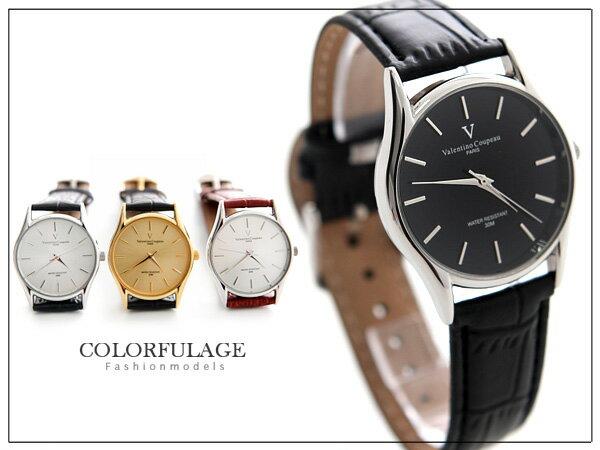 柒彩年代【NE247】范倫鐵諾Valentino手錶 極簡約美感不鏽鋼錶殼+真皮錶帶~單隻
