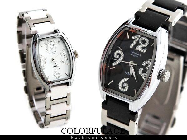 柒彩年代【NE382】經典酒桶錶款大數字刻度呈現 滿鑽名媛陶瓷腕錶.手錶 贈禮盒+提袋~單支 0