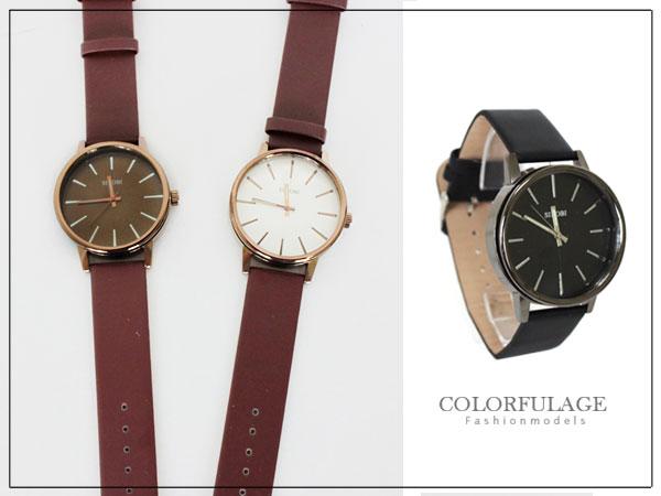 柒彩年代˙現貨不用等【NE440】經典時尚 質感圓形鏡面手錶 簡約素面中性 單支