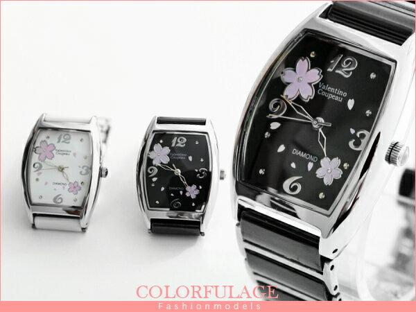 柒彩年代【NE444】精密陶瓷櫻花鑽石腕錶 Valentino范倫鐵諾 頂級經典酒桶名媛手錶~單支