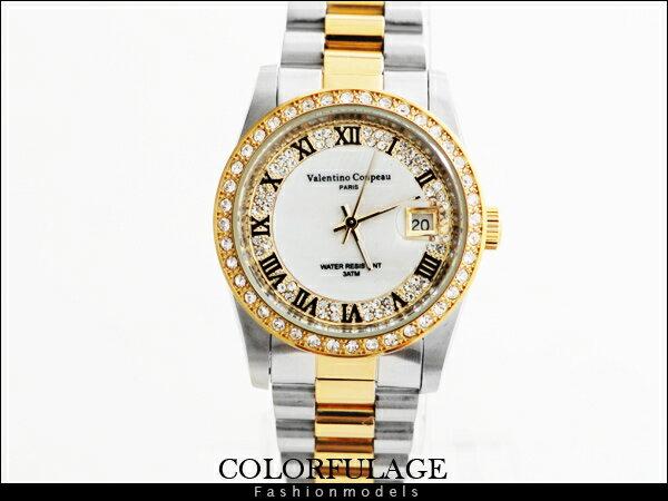 柒彩年代~NE445~金銀交錯滿天星水鑽羅馬刻度手錶 Valentino范倫鐵諾專櫃品牌錶