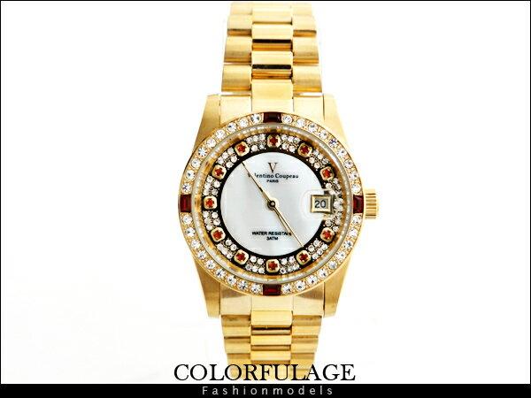 柒彩年代【NE446】滿天星奧地利白鑽加紅鑽專櫃 Valentino范倫鐵諾手錶 生日禮物.父親節~單隻