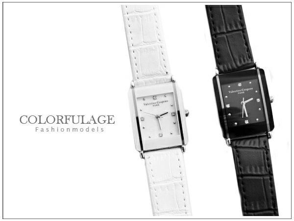 柒彩年代~NE498~范倫鐵諾Valentino 方形手錶對錶 真皮錶帶^~單支  正品