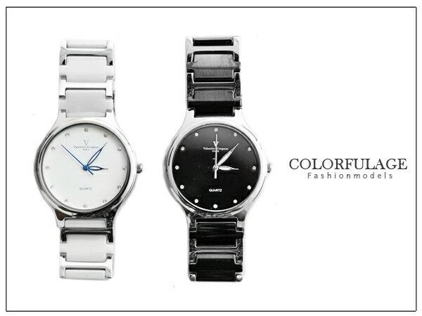 柒彩年代。范倫鐵諾Valentino 精密陶瓷不銹鋼錶款【NE526】極簡時尚大圓陶瓷手錶~單支價格 0