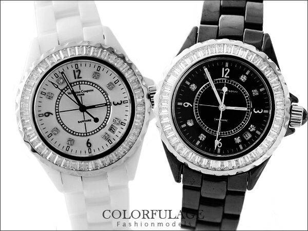 柒彩年代˙名媛方晶鋯石點綴外框全精密陶瓷手錶 Valentino范倫鐵諾藍寶石鏡片【NE531】單支 0