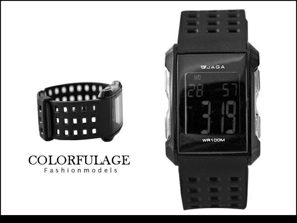 柒彩年代【NE537】超透氣低調全黑大數字運動電子錶 捷卡JAGA型男 防水100米原廠公司貨 0