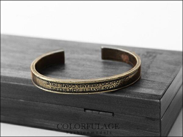 柒彩年代˙日韓歐美個性款 英文密碼獨特復古銅C字型手環【NA216】單支價格 0
