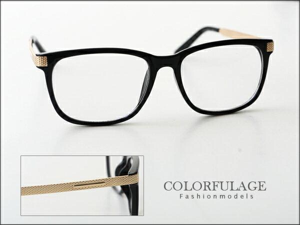 柒彩年代˙玩味時尚玫瑰金壓紋設計黑框眼鏡 獨家引進少見單品【NY174】 0