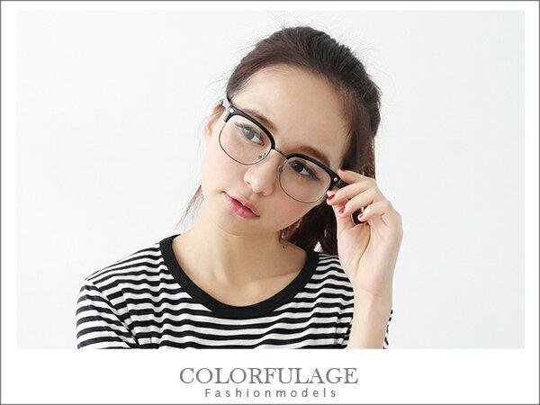 低調時尚全黑半框眼鏡 獨家引進少見單品 韓系東區時尚眼鏡框 柒彩年代【NY168】 0