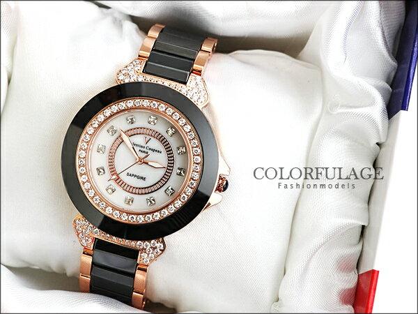 柒彩年代˙Valentino范倫鐵諾 名媛必備珍珠貝面爪鑲方晶鋯石精密陶瓷手錶腕錶【NE744】單支 0