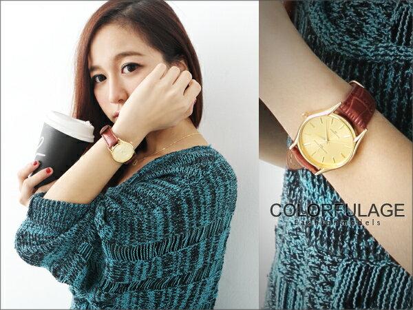 范倫鐵諾Valentin手錶 極簡超薄錶款 中性深咖真皮錶帶【NE247】柒彩年代 0