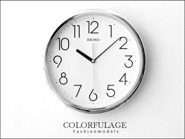 SEIKO精工時鐘 簡約大數字刻度時尚銀 百搭裝飾家具 柒彩年代【NE856】原廠公司貨 0