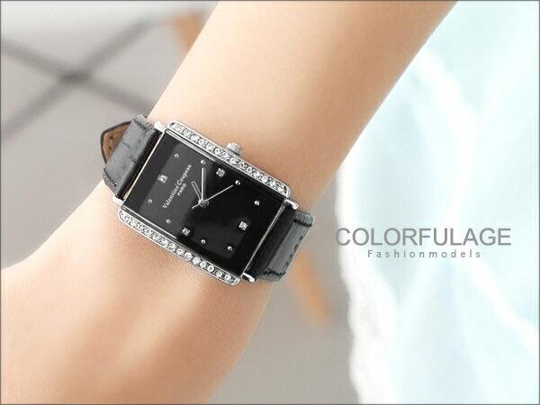 范倫鐵諾Valentino手錶 方形水鑽真皮腕錶 氣質女孩名媛 柒彩年代~NE211~ 貨