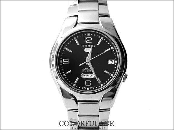 SEIKO 精工五號 經典款自動上鍊機械錶 低調黑型男不銹鋼【NE821】附贈禮盒+提袋