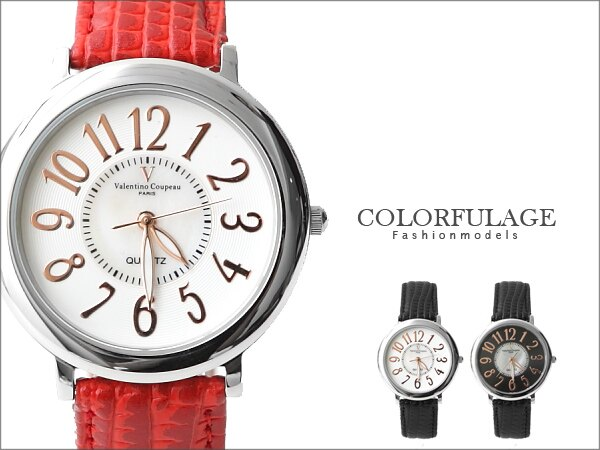 范倫鐵諾Valentino 玫瑰金數字真皮錶帶 中性款 對錶 原廠公司貨 柒彩年代【NE874】單支