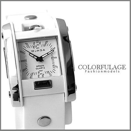 純白色系JAGA捷卡石英限量手錶 超實用防水50米 柒彩年代【NE894】原廠公司貨 0