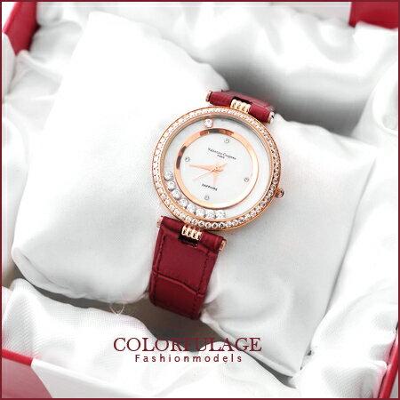 Valentino范倫鐵諾 奢華滾鑽珍珠貝真皮手錶腕錶 名媛單品 柒彩年代【NE909】原廠正品 0