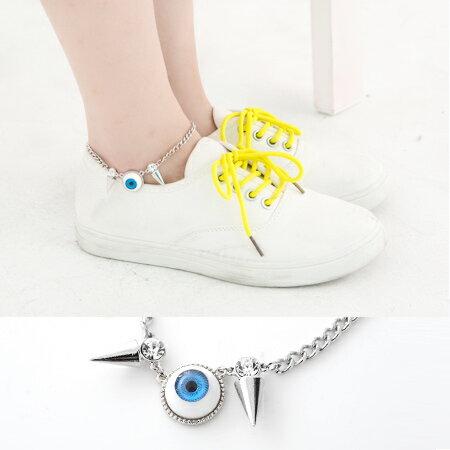 鉚釘水鑽眼球造型腳鍊 美式輕龐克 獨特視覺魅力 中性款 柒彩年代【NA232】腳鍊 0
