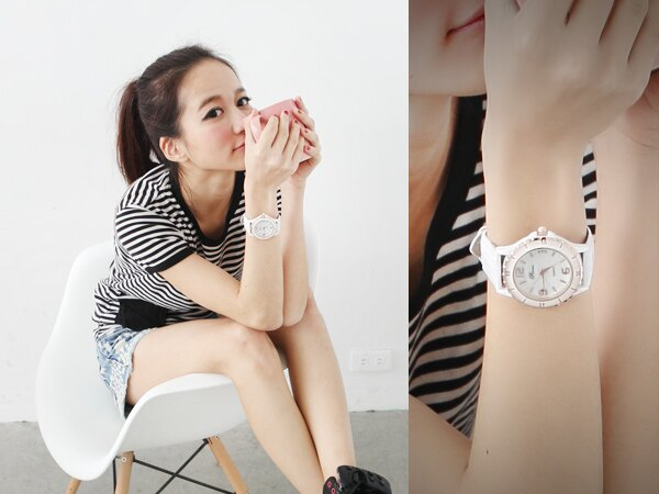 柒彩年代˙真愛趁現在 偶像劇珍珠貝盤手錶 時尚黑白色鱷魚皮革腕錶【NE355】單支