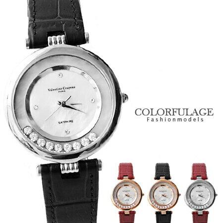 Valentino范倫鐵諾 珍珠貝滾動鋯石奢華腕錶 真皮手錶 柒彩年代~NE908~