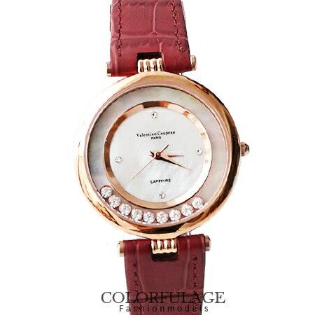 Valentino范倫鐵諾 珍珠貝滾動鋯石奢華腕錶 真皮手錶 柒彩年代【NE908】 0