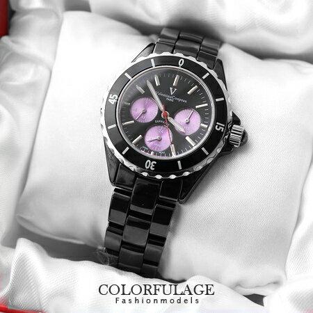 全精密陶瓷范倫鐵諾Valentino腕錶 真三眼藍寶石水晶鏡片 柒彩年代 【NE932】原廠公司貨
