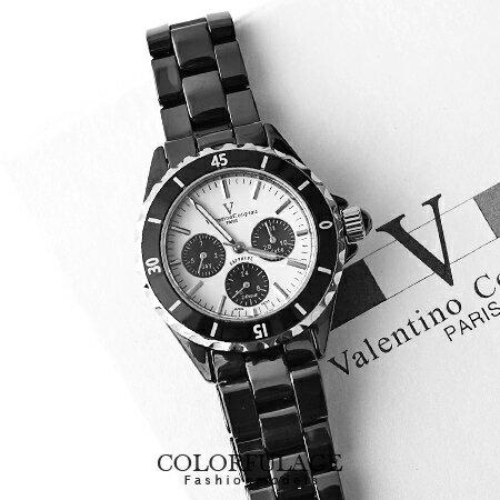 真三眼藍寶石水晶鏡片 全精密陶瓷范倫鐵諾Valentino腕錶 柒彩年代 【NE932】原廠公司貨