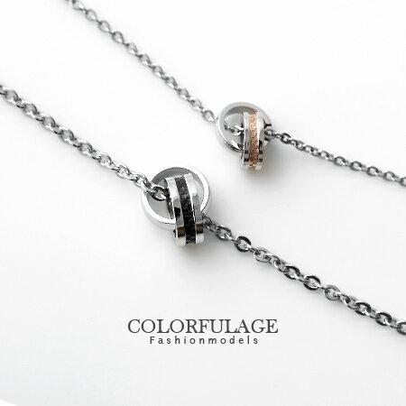 項鍊 專櫃等級西德鋼製雙環經典格紋情侶對鍊 抗過敏氧化 柒彩年代【NB558】單條價格 0
