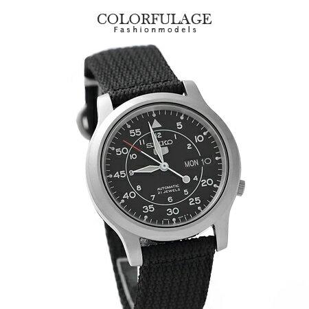 帆布SEIKO精工五號黑色系腕錶 穩重自動上鍊機械錶 柒彩年代【NE1025】附贈禮盒+提袋 0
