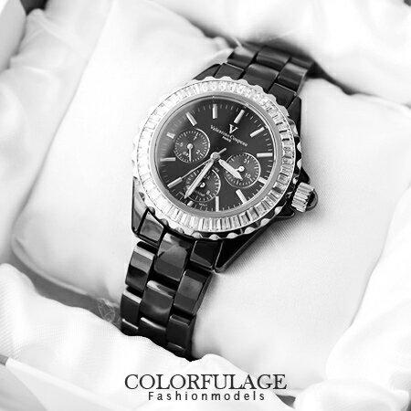 藍寶石水晶玻璃手錶 全精密陶瓷真三眼 范倫鐵諾Valentino腕錶 柒彩年代【NE949】原廠公司貨 0