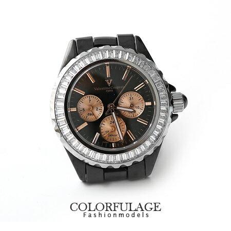藍寶石水晶玻璃手錶 全精密陶瓷真三眼 范倫鐵諾Valentino腕錶 柒彩年代【NE949】原廠公司貨