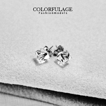 典雅簡約氣質 施華洛水晶立體方塊耳針耳環 柒彩年代~ND94~一對 ~  好康折扣