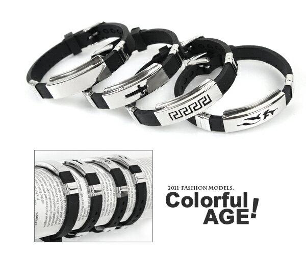 柒彩年代【NA98】西德316L鋼錶帶式手環.無限制手圍都可配戴~日本街頭潮流時尚情侶對鍊 0
