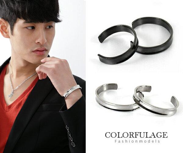 柒彩年代【NA61】西德鋼製一體成型鋼製手環~情侶手環.簡約素面專櫃配件.單個 0