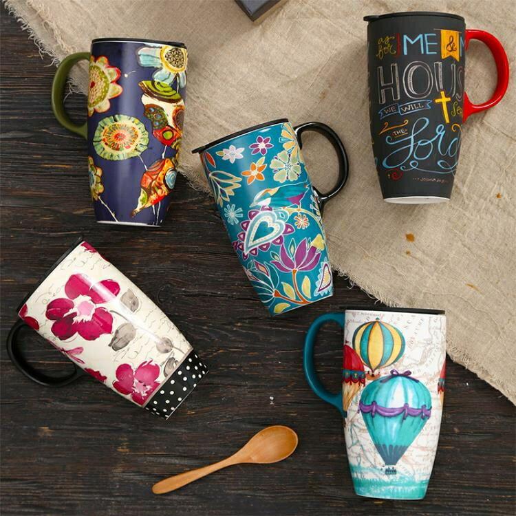 【快速出貨】馬克杯 愛屋格林大容量馬克杯子陶瓷帶蓋咖啡創意早餐杯家用水杯定 交換禮物 七色堇 新年春節送禮