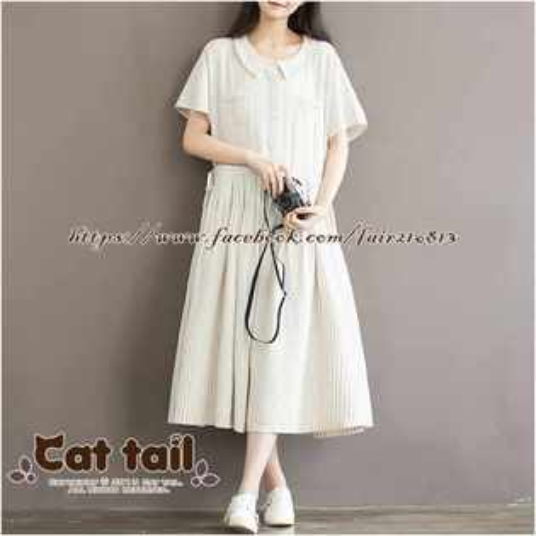 《貓尾巴》TS-0758甜可娃娃領短袖連身裙(森林系日系棉麻文青清新)