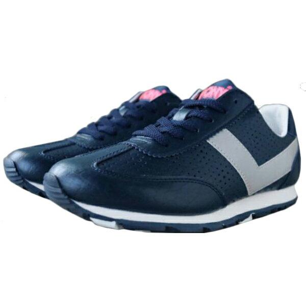 《限時特價799元》 Shoestw【63W1SO68DB】PONY 復古慢跑鞋 休閒鞋 皮革 洞洞 深藍色 女款 0
